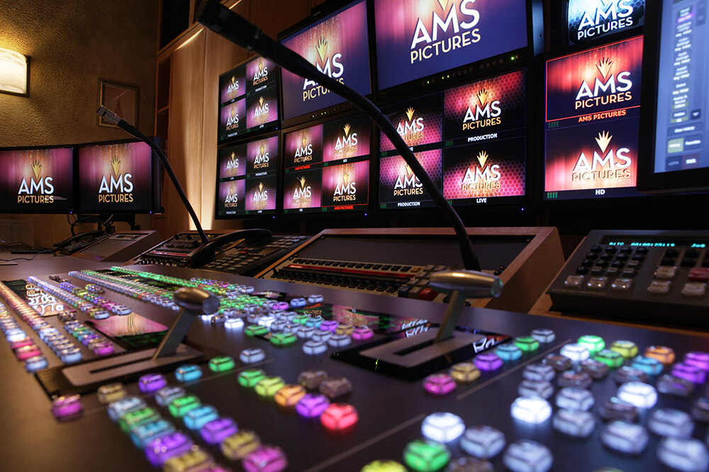 video production control panel with AMS logo